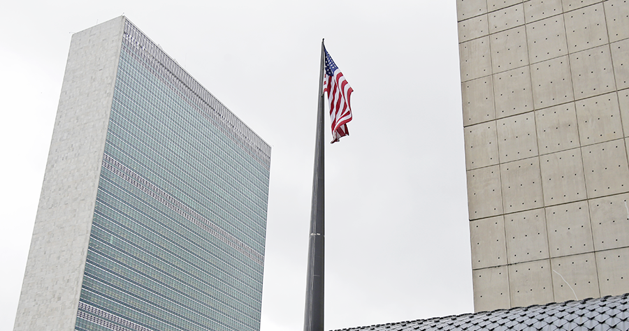 U.S. flag flies over the United States Mission to the United Nations, across the street from U.N. headquarters, in New York, NY, United States of America. (AP photo)
