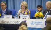 Ambassador Jackie Wolcott delivers opening remarks at the International Society of Drug Use Professionals (ISSUP) fifth annual workshop, Vienna, Austria, July 1, 2019.