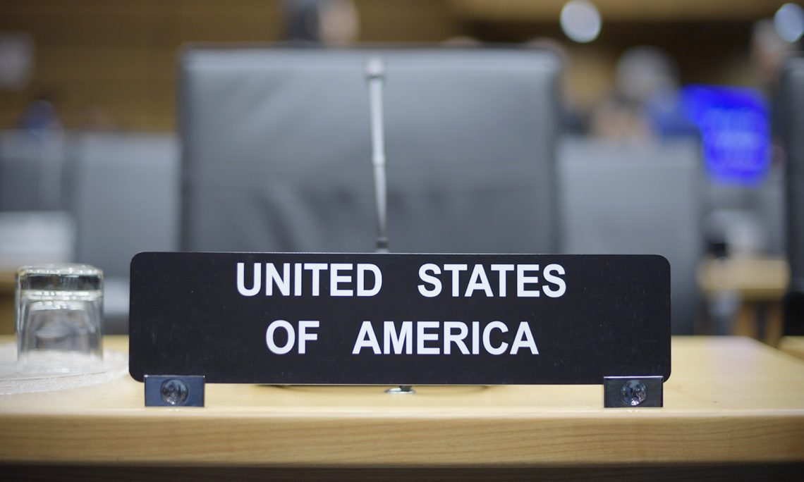 United States nameplate at the September 2019 IAEA Board of Governors meeting, Vienna, Austria, September 9, 2019. (USUNVIE)