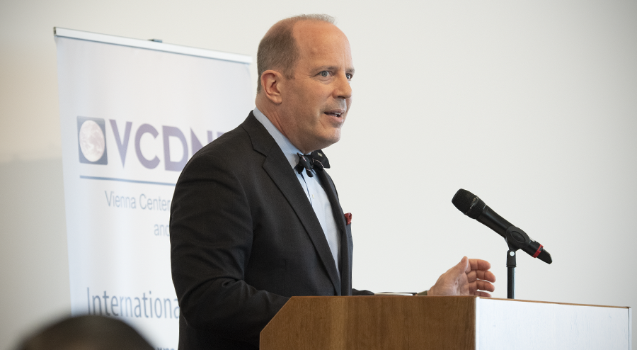 Assistant Secretary of State for International Security and Nonproliferation Christopher A. Ford delivering remarks on the strategic logic of U.S. Iran policy at an event held by the Vienna Center for Disarmament and Nonproliferation at the Permanent Mission of Japan to the International Organizations in Vienna, September 19, 2019. (USUNVIE)
