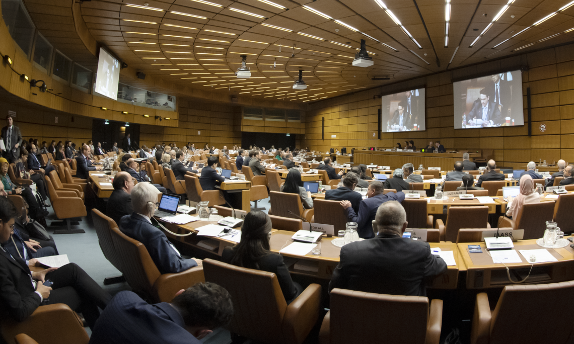 Kevin Conole, Senior Program Specialist at NASA and Head of the U.S. delegation to the 2020 COPUOS STSC, delivers a statement under an STSC agenda item, Vienna, Austria, February 4, 2020. (USUNVIE/Colin Peters)