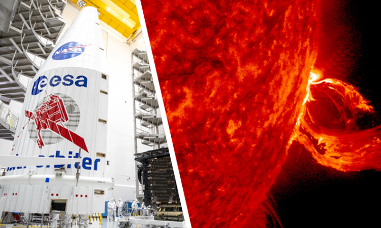 Composite image. Left: Both halves of a United Launch Alliance Atlas V payload fairing are positioned for installation around the Solar Orbiter spacecraft on Jan. 20, 2020. Right: A substantial coronal mass ejection blowing out from side of the Sun in June 2015. (NASA images)