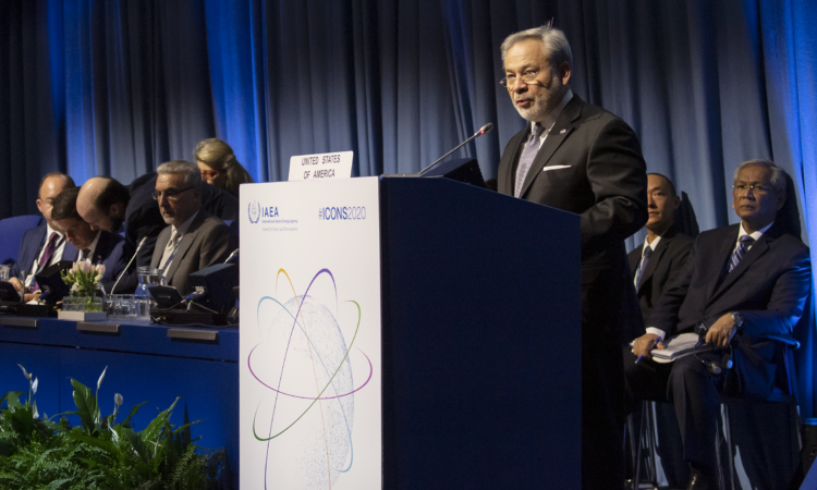 United States Secretary of Energy Dan Brouillette delivers remarks at the third International Conference on Nuclear Security (ICONS 2020) at the Vienna International Center, February 10, 2020. (USUNVIE/Colin Peters)