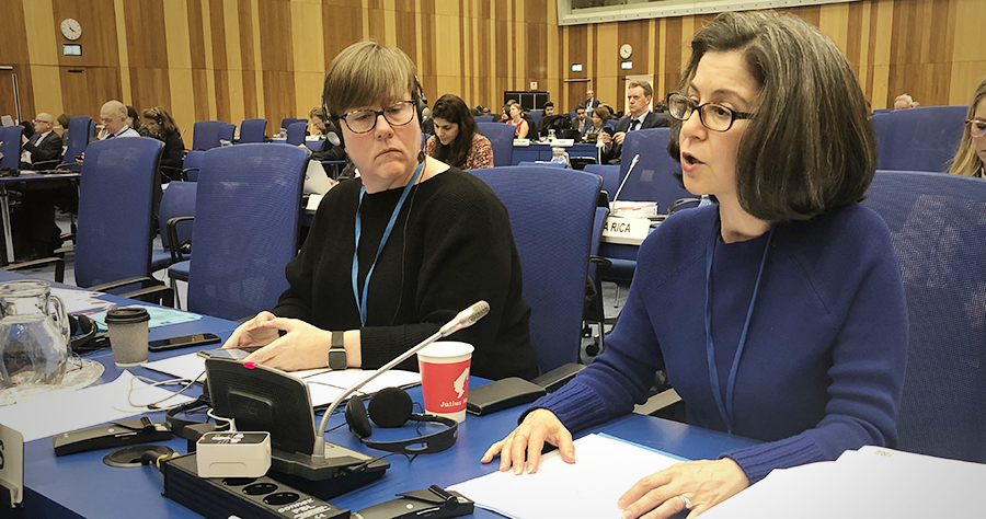 USUNVIE's Deputy Chief of Mission Nicole Shampaine speaks at the 63rd session of the Commission on Narcotic Drugs, Vienna, Austria, March 3, 2020. (USUNVIE/Courtney Mazzone)