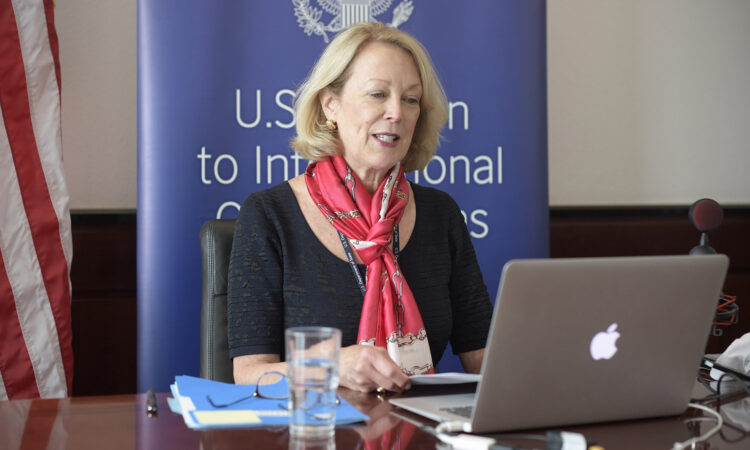 Ambassador Jackie Wolcott delivers a U.S. statement at a virtual meeting of the IAEA Board of Governors, June 15, 2020. (USUNVIE/Colin Peters)