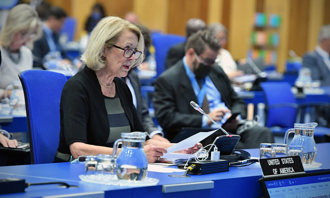 Ambassador Jackie Wolcott at the IAEA Board of Governors Meeting, Sept. 14, 2020. (IAEA/Dean Calma)
