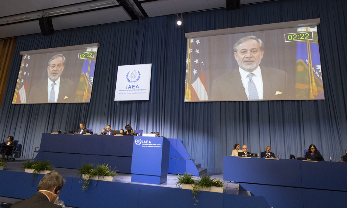Energy Secretary Dan Brouillette delivering the U.S. National Statement at the IAEA General Conference, Sept. 21, 2020. (Colin Peters/USUNVIE)