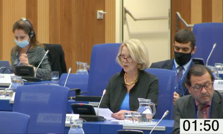USUNVIE Ambassador Jackie Wolcott delivers remarks at the 10th UNTOC Conference of the Parties, Vienna, Austria, October 14, 2020. (Screengrab)