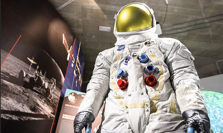 UNVIE's Neil Armstrong Spacesuit Replica Statue on display at the Center Noordung in Vitanje, Slovenia.