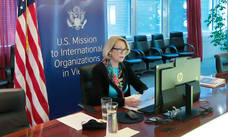Ambassador Jackie Wolcott delivers virtually a U.S. statement at the IAEA Board of Governors Meeting, Vienna, Austria, November 18, 2020. (USUNVIE/Spencer Fields)