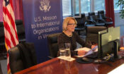 Ambassador Jackie Wolcott delivers a virtual statement to the IAEA Board of Governors, Vienna, Austria, November 19, 2020. (USUNVIE/Spencer Fields)
