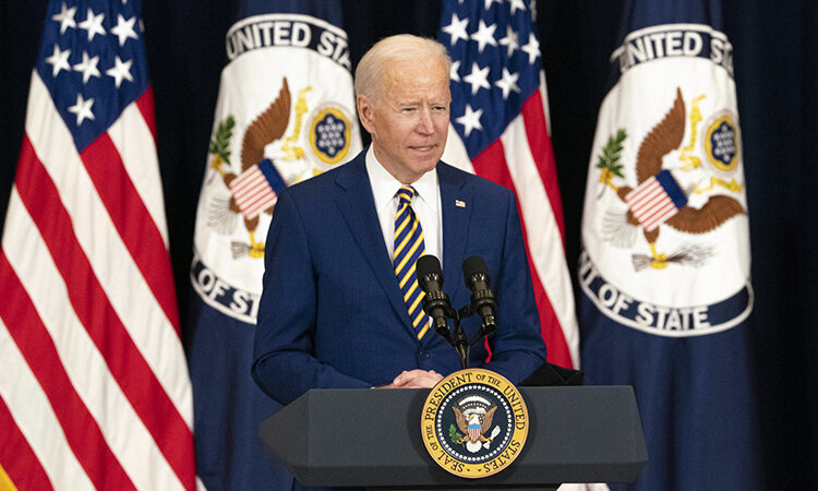 President Joseph R. Biden, Jr. delivers remarks to State Department employees, at the U.S. Department of State in Washington, D.C., on February 4, 2021. [State Department Photo by Freddie Everett/ Public Domain]