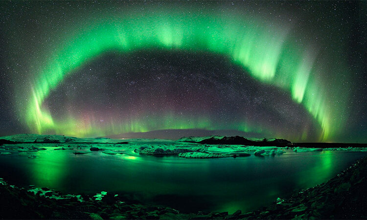 The aurora borealis: a result of space weather interacting with Earth's atmosphere. (NOAA)