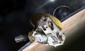 Artist's concept of the New Horizons spacecraft, whose miniature cameras, radio science experiment, ultraviolet and infrared spectrometers and space plasma experiments are run by DOE's Radioisotope Thermoelectric Generator. (JHUAPL/SwRI)