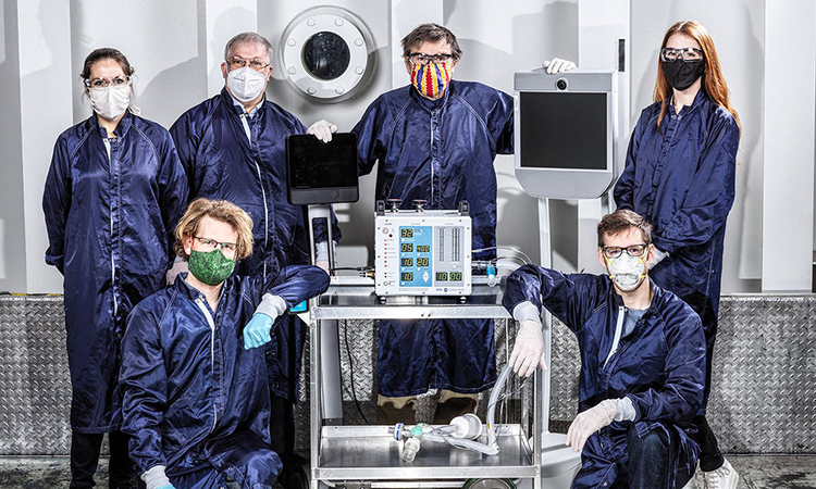 Some of the dozens of engineers at NASA's Jet Propulsion Laboratory involved in creating a ventilator prototype specially targeted to coronavirus patients. The prototype was created in 37 days in March and April 2020. (NASA/JPL-Caltech)