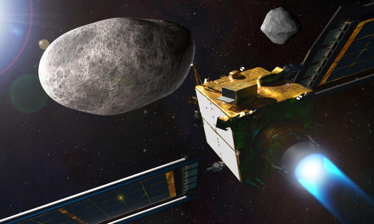 Illustration of NASA's Double Asteroid Redirection Test (DART) spacecraft. (NASA)