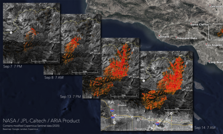 A damage assessment map showing areas in Angeles National Forest that were likely damaged from the Bobcat Fire. (NASA)