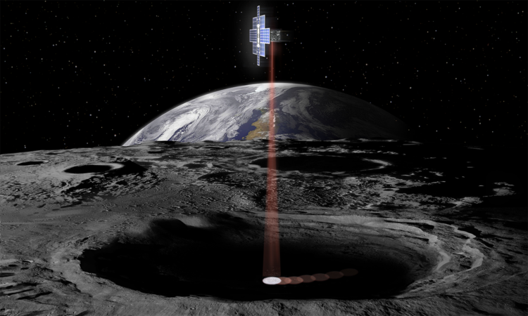 Concept image showing NASA's Lunar Flashlight, a CubeSat that will use lasers to look for water ice, in a position over the South Pole of the Moon. (NASA)
