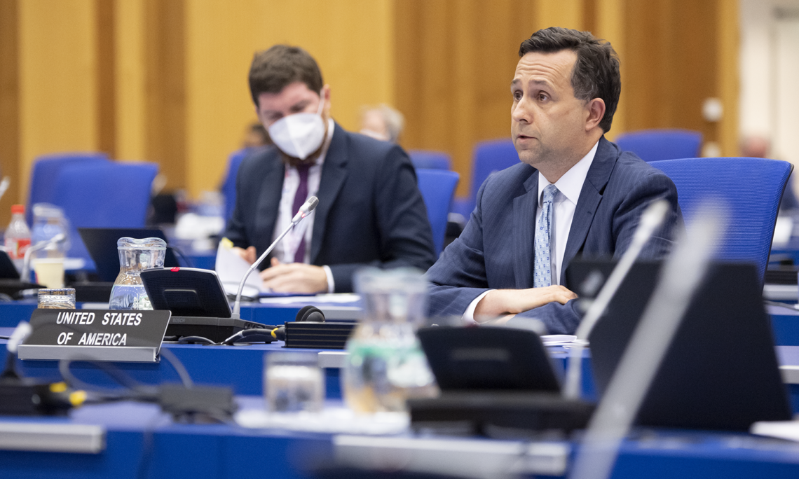 Acting IAEA Counselor Edward Canuel delivers the U.S. statement on the application of IAEA safeguards in the DPRK at the IAEA Board of Governors meeting, June 9, 2021. (USUNVIE/Colin Peters)
