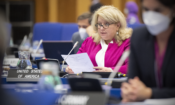 Acting Deputy Chief of Mission Leslie Hayden delivers the U.S. statement on the implementation of the NPT Safeguards Agreement in Syria to the IAEA Board of Governors, Vienna, Austria, June 10, 2021. (USUNVIE/Colin Peters)