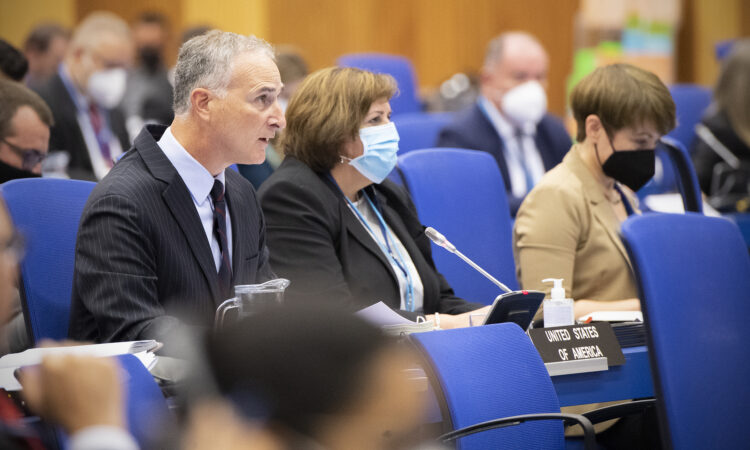 UNVIE Chargé d'Affaires, a.i. Louis L. Bono delivers a United States statement at the September 2021 IAEA Board of Governors meeting, Vienna, Austria, Sept. 13, 2021. (USUNVIE/Colin Peters)