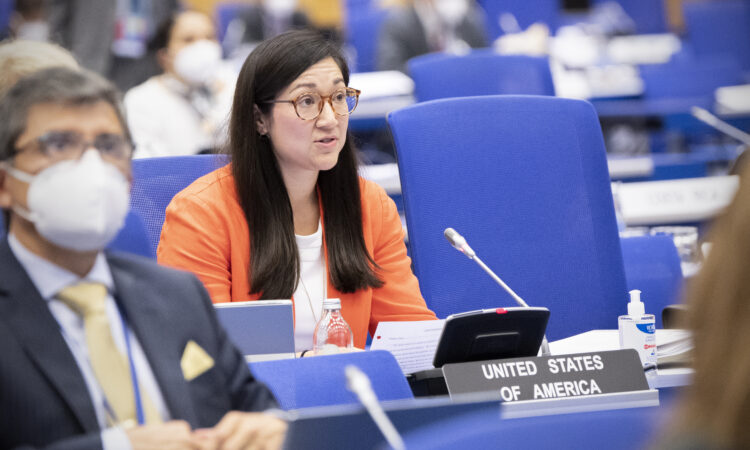 UNVIE Political Officer Rachael Parrish delivers a U.S. statement at the IAEA Board of Governors meeting, September 14, 2021. (USUNVIE/Colin Peters)