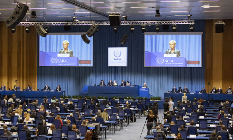 U.S. Secretary of Energy Jennifer Granholm delivers the U.S. National Statement to the 65th IAEA General Conference, Vienna, Austria, September 20, 2021. (USUNVIE/Colin Peters)