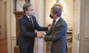 Secretary Blinken greets IAEA Director General Rafael Grossi at the U.S. Department of State in Washington, D.C. on October 18, 2021. [State Department/Freddie Everett]