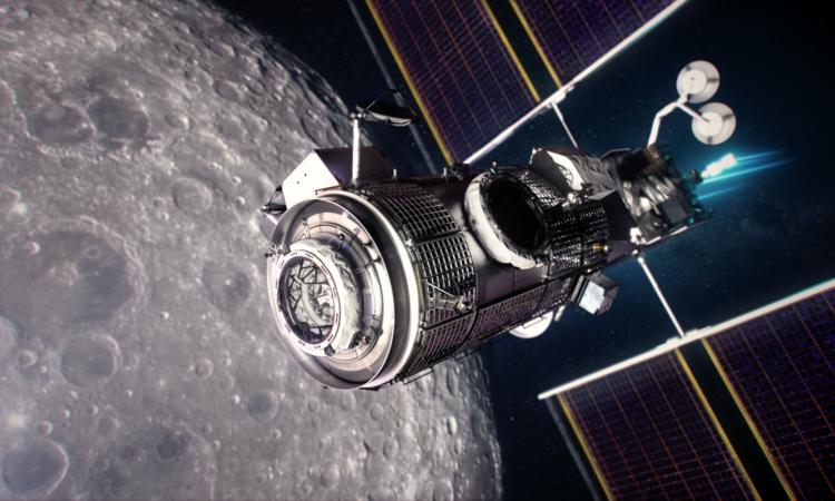 Illustration of the Gateway lunar platform orbiting the Moon. (NASA)