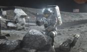 Illustration of Artemis astronauts on the Moon. (NASA)