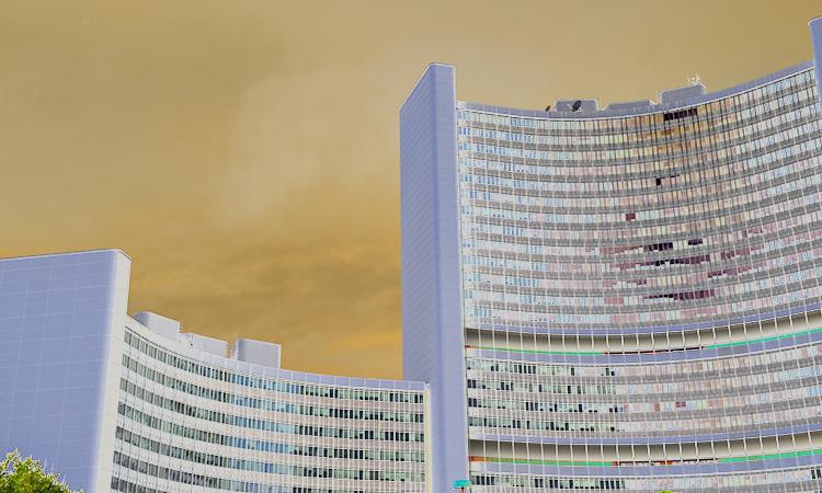 Futuristic looking buildings housing international organizations in Vienna.