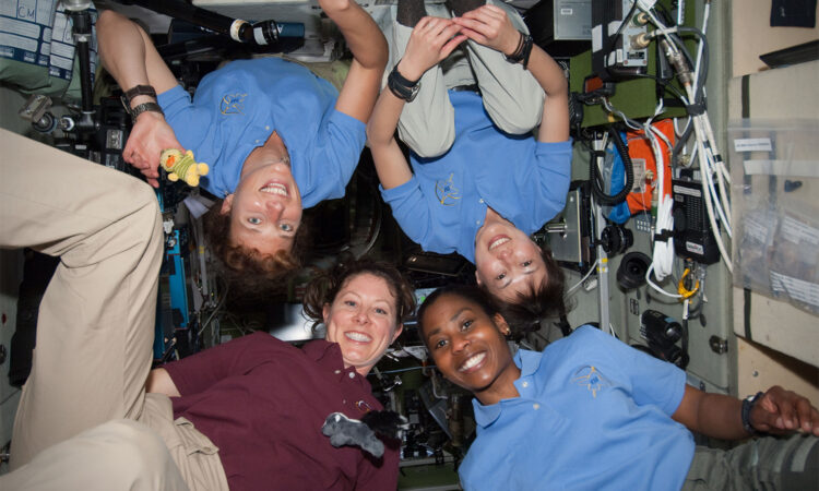 Pictured clockwise from the lower left are NASA astronauts Tracy Caldwell Dyson, Expedition 23 flight engineer; NASA astronaut Dorothy Metcalf-Lindenburger, Japan Aerospace Exploration Agency (JAXA) astronaut Naoko Yamazaki and NASA astronaut Stephanie Wilson, aboard the International Space Station. (NASA)