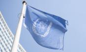 IAEA flag at the Vienna International Center, June 2021. (Colin Peters/USUNVIE)