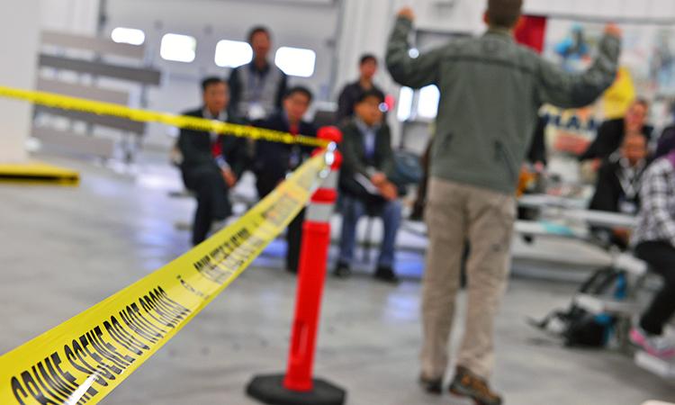 An area sealed off by yellow tape like a crime scene. Photo: IAEA.