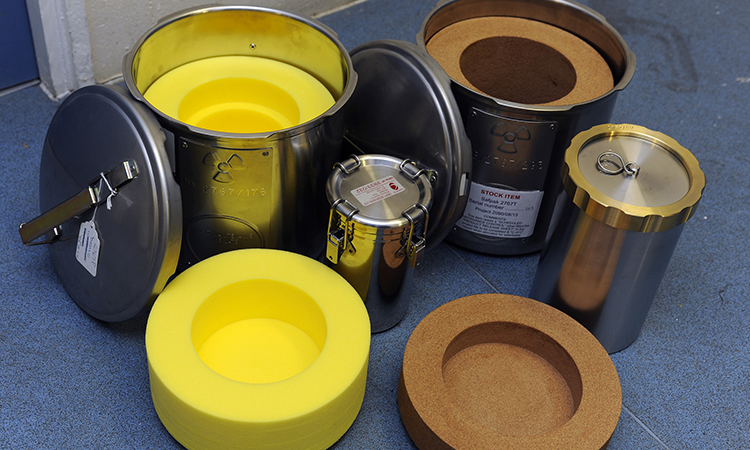 Containers to transport small quantities of radioactive material.