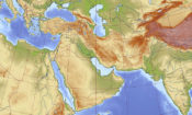 "Map of a geographic area often referred to as the ""Middle East""."