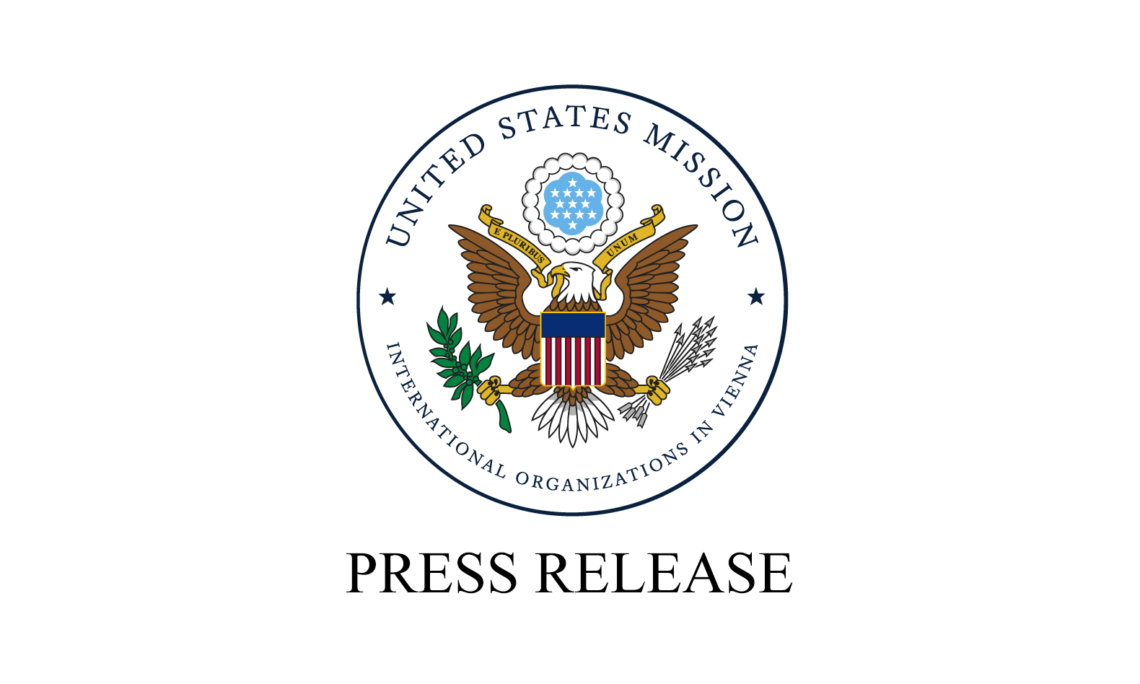"Seal of the U.S. Mission to International Organizations in Vienna and words ""Press Release""."