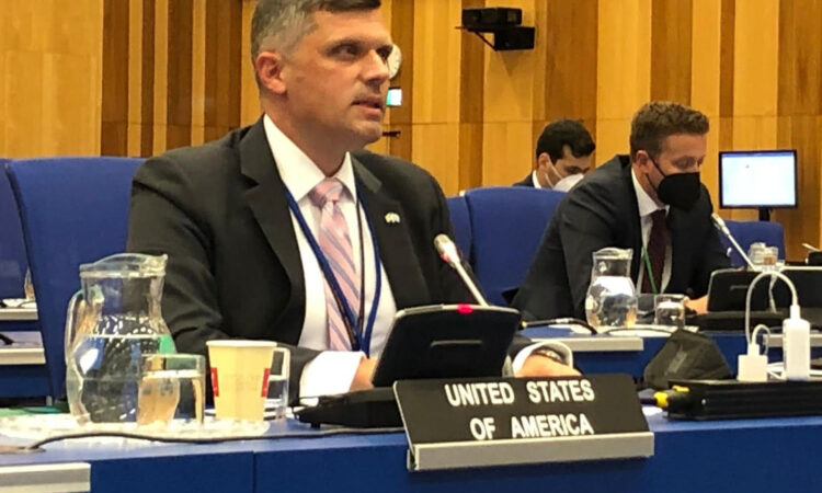 USUNVIE's Spencer Fields at the IAEA Board of Governors Meeting, Vienna, Austria, June 8, 2021.