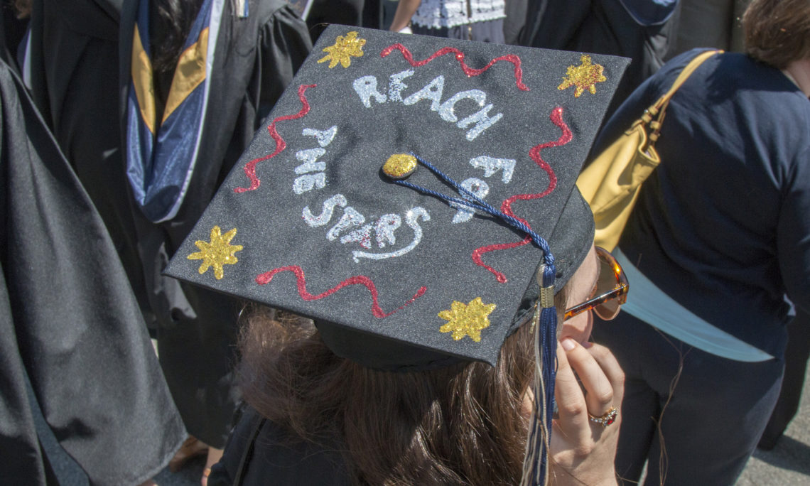graduate cap reading reach for the stars