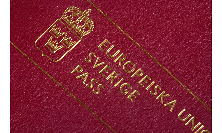 image of the cover of a Swedish passport