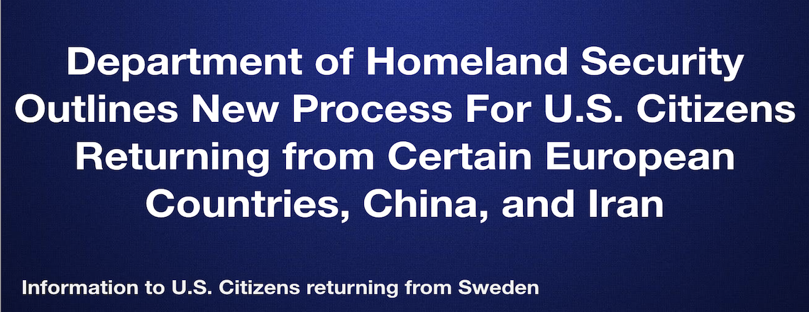 Information for U.S. citizens returning from Sweden