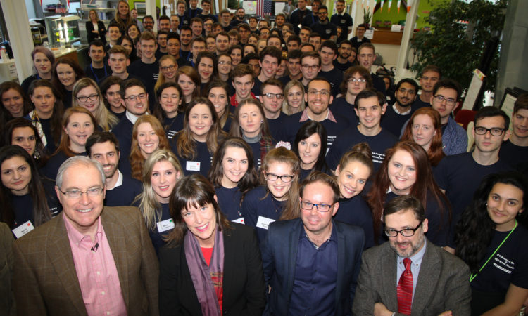 Ambassador O'Malley (front left) with120 participants from Ireland, Northern Ireland and the United States who took part at the social entrepreneurship hackathon at DCU's Ryan Academy