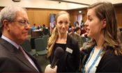 Ambassador O'malley interviews U.S. employers at the J-1 job fair in Dublin.