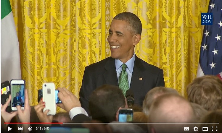 President Obama makes remarks at the St. Patrick's Day Reception in thw White House
