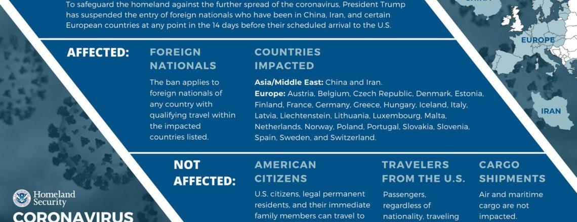 DHS Notice of Arrival Restrictions on China, Iran and Countries of Europe