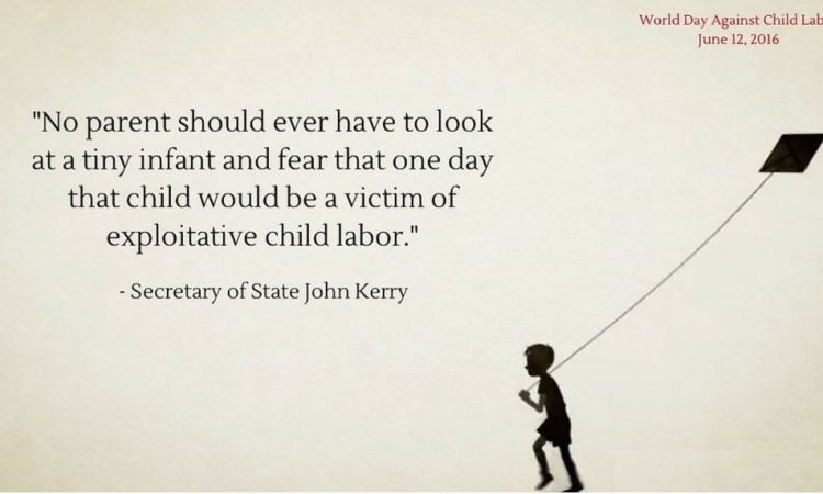 Drawing with child and Secretary Kerry's quote