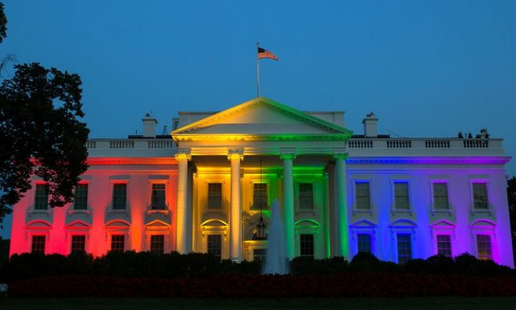 The White House with LGBT colors (AP Images)