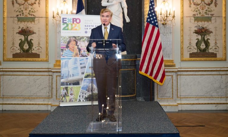 Chargé d'Affaires Brent Hardt hosts a reception to show support for Minnesota's bid to host the 2023 Specialized Expo.