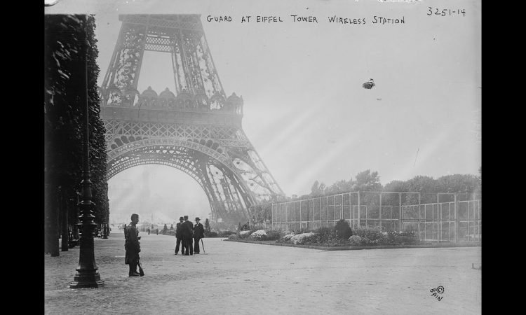 Photograph shows a guard at the Eiffel Tower, in Paris, France during World War I. (Library of Congress)