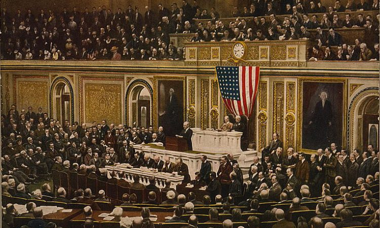 President Woodrow Wilson asking Congress to declare war on Germany